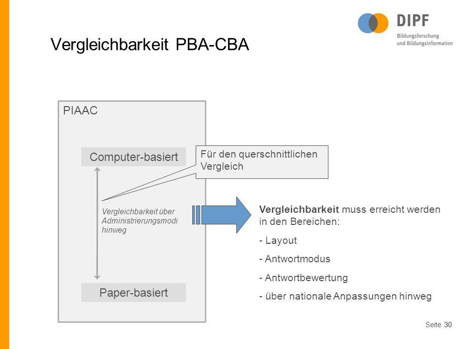 Vergleichbarkeit PBA-CBA