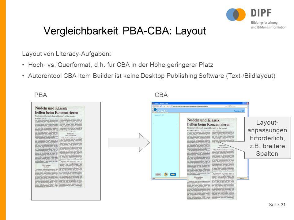 Vergleichbarkeit PBA-CBA: Layout