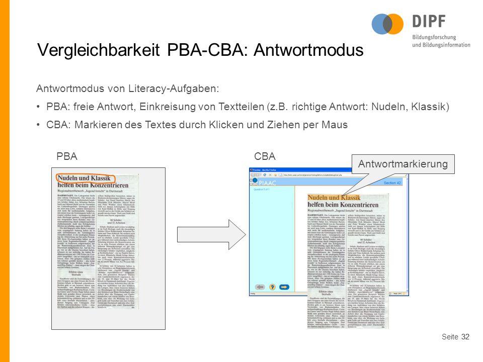 Vergleichbarkeit PBA-CBA: Antwortmodus