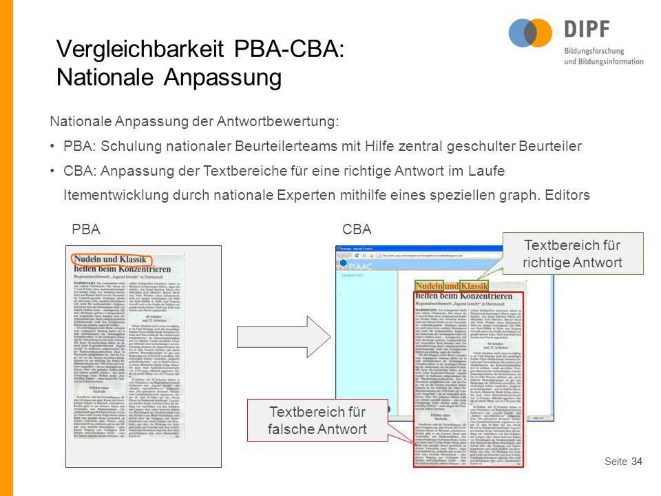 Vergleichbarkeit PBA-CBA: Nationale Anpassung