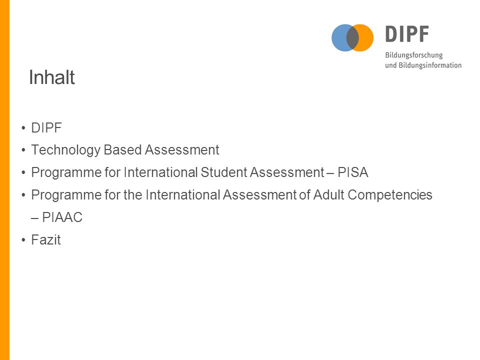 Inhalt DIPF Technology Based Assessment