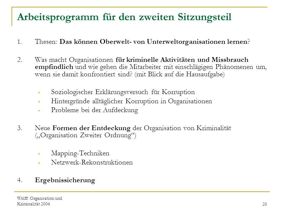 Arbeitsprogramm für den zweiten Sitzungsteil