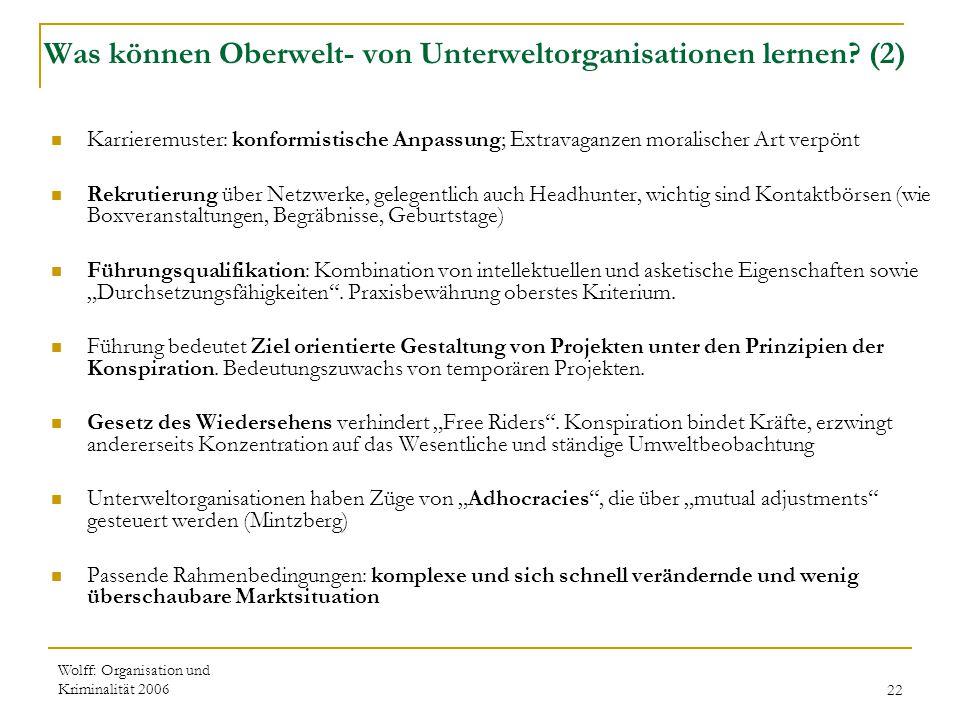 Was können Oberwelt- von Unterweltorganisationen lernen (2)