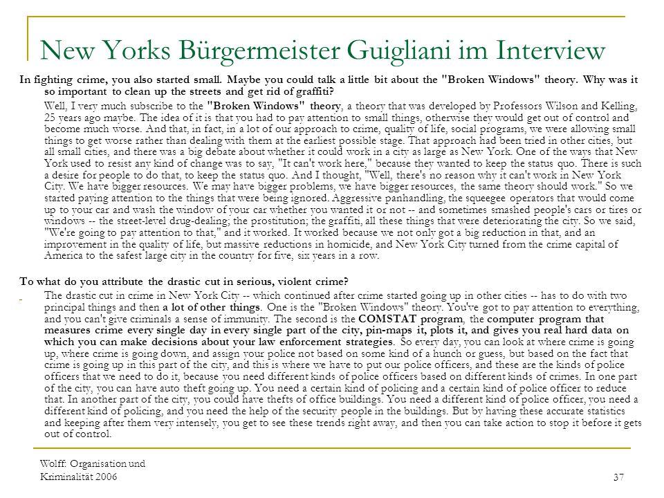 New Yorks Bürgermeister Guigliani im Interview
