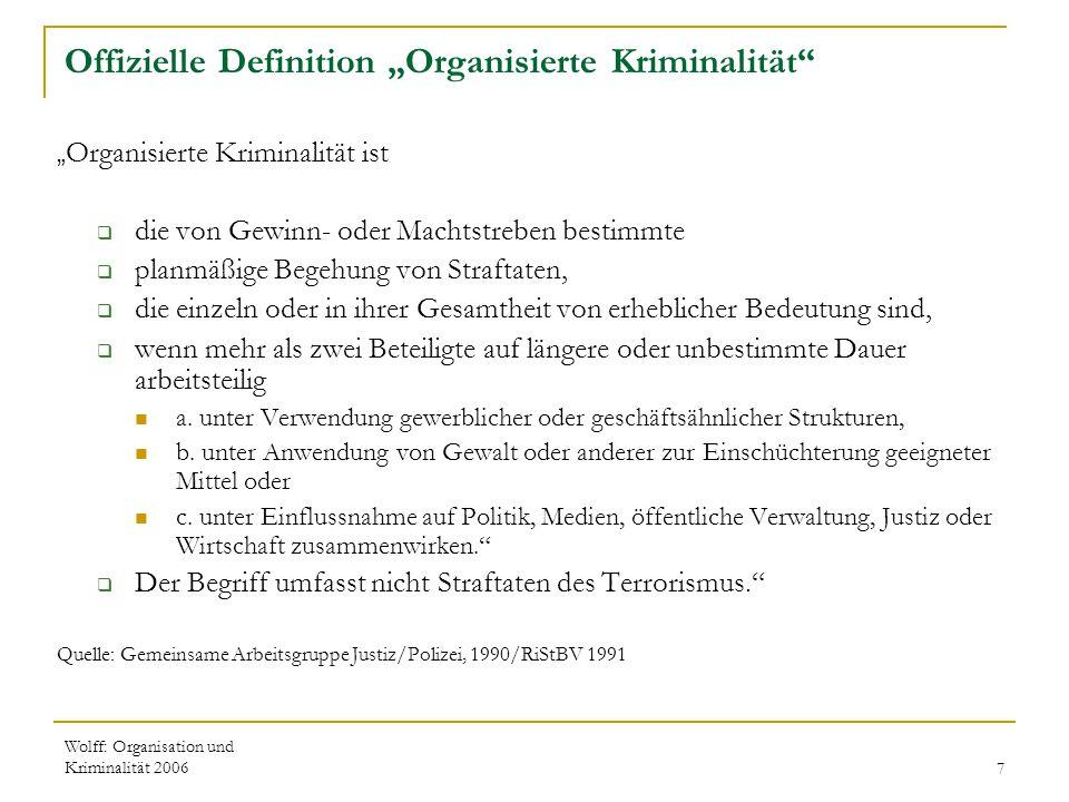 """Offizielle Definition """"Organisierte Kriminalität"""