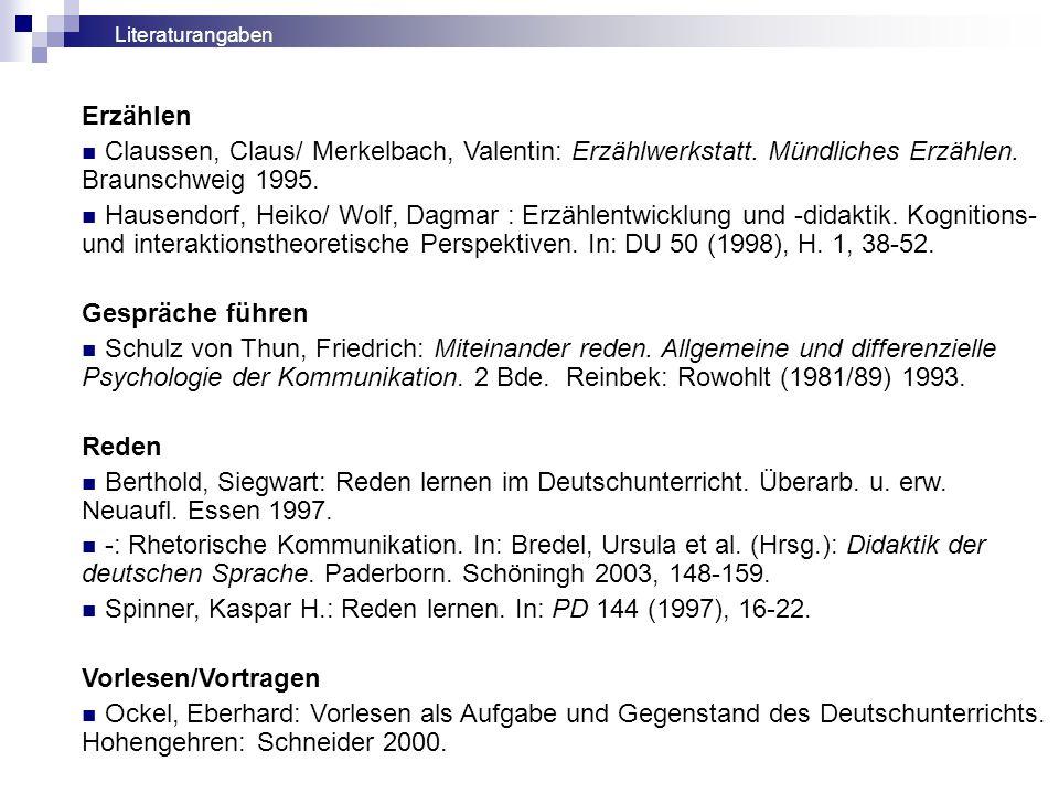 Spinner, Kaspar H.: Reden lernen. In: PD 144 (1997), 16-22.