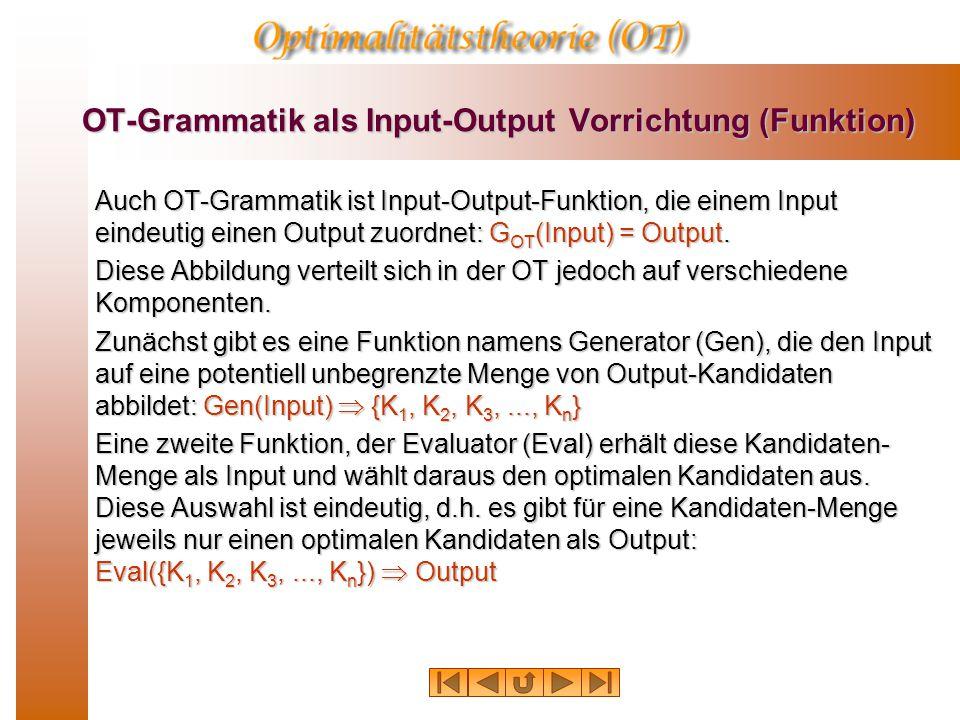 OT-Grammatik als Input-Output Vorrichtung (Funktion)