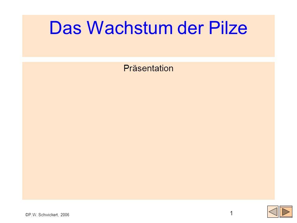 Das Wachstum der Pilze Präsentation ©P.W. Schwickert, 2006