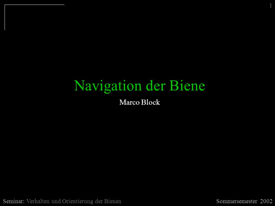 Navigation der Biene Marco Block 1