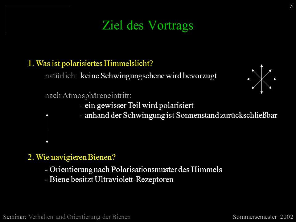 Ziel des Vortrags 1. Was ist polarisiertes Himmelslicht