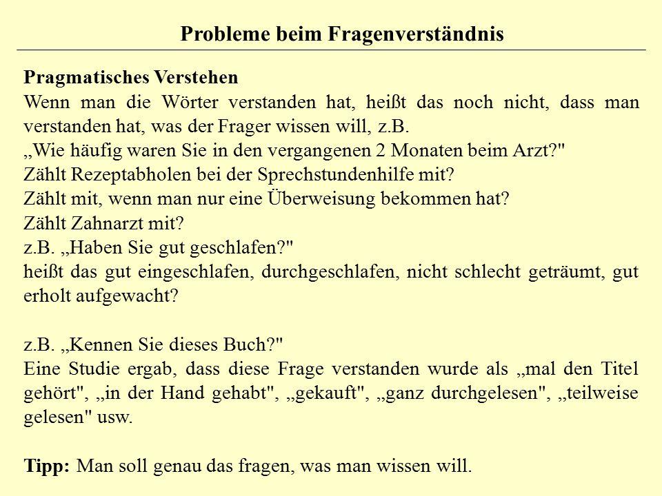 Probleme beim Fragenverständnis