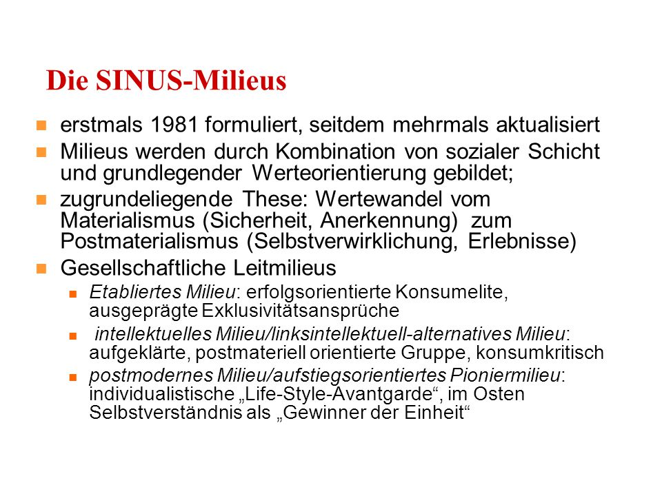 Die SINUS-Milieus erstmals 1981 formuliert, seitdem mehrmals aktualisiert.