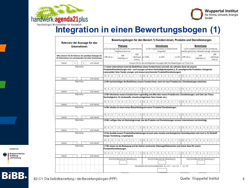 Integration in einen Bewertungsbogen (1)