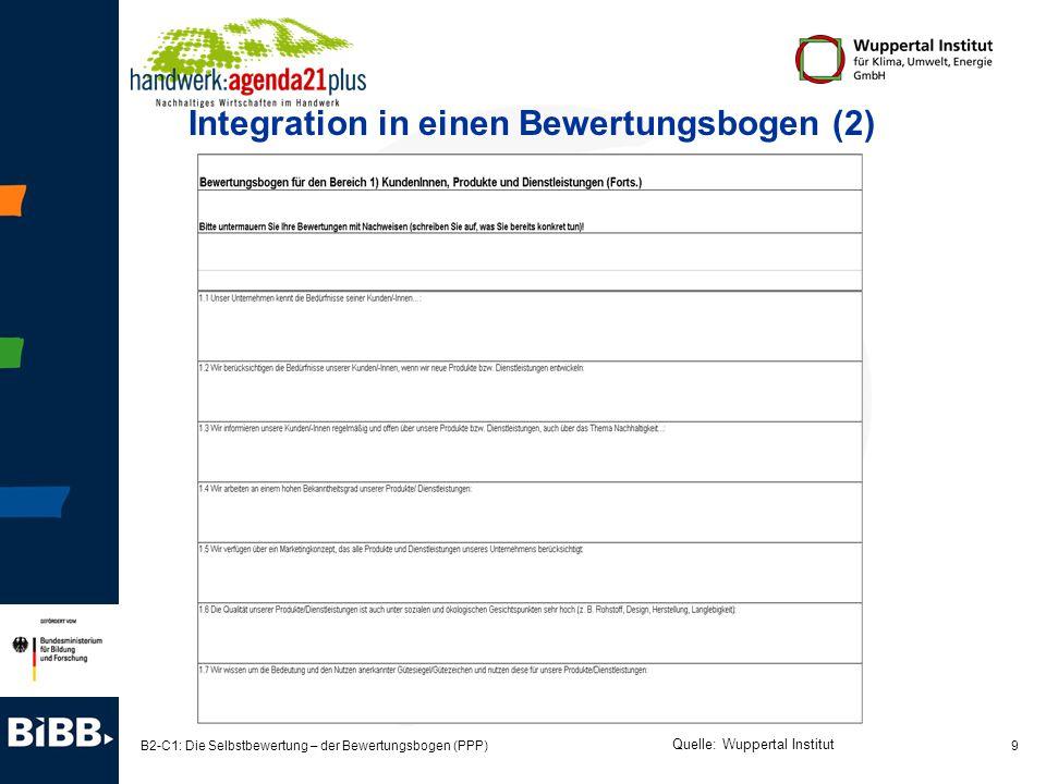 Integration in einen Bewertungsbogen (2)