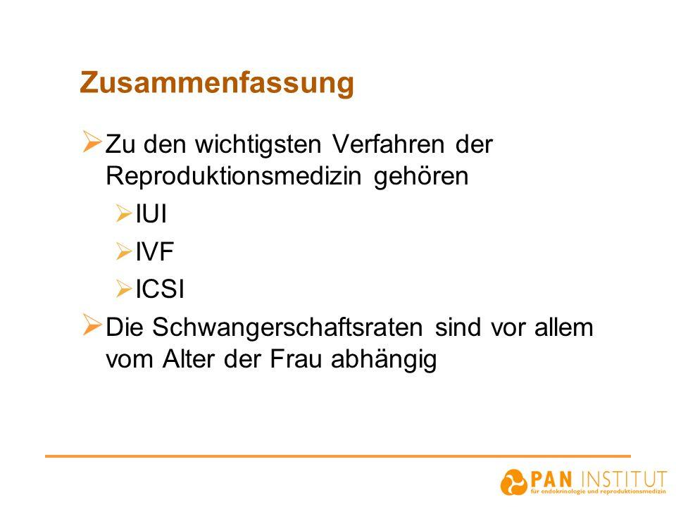 Zusammenfassung Zu den wichtigsten Verfahren der Reproduktionsmedizin gehören. IUI. IVF. ICSI.