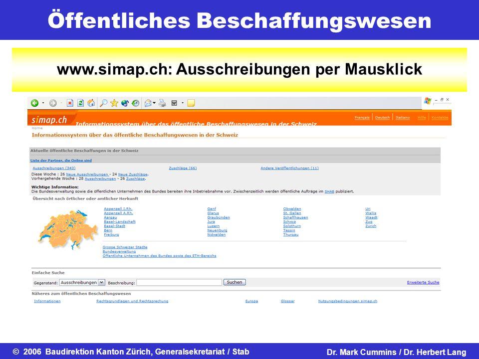 www.simap.ch: Ausschreibungen per Mausklick