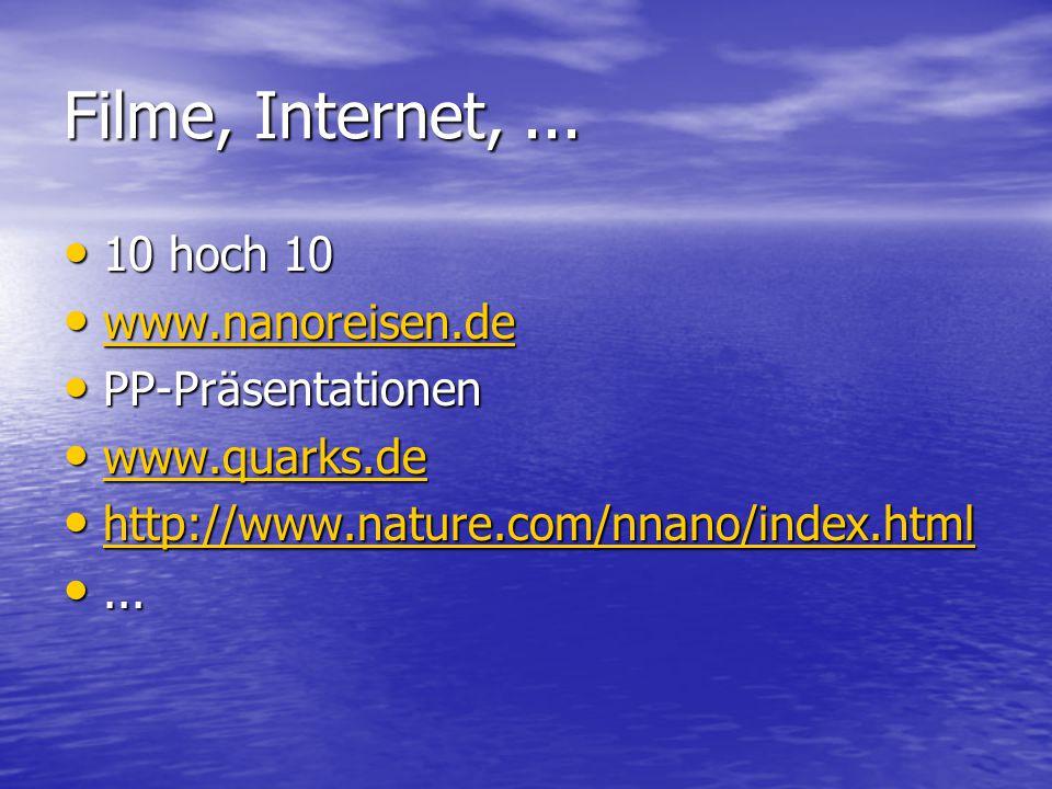 Filme, Internet, ... 10 hoch 10 www.nanoreisen.de PP-Präsentationen