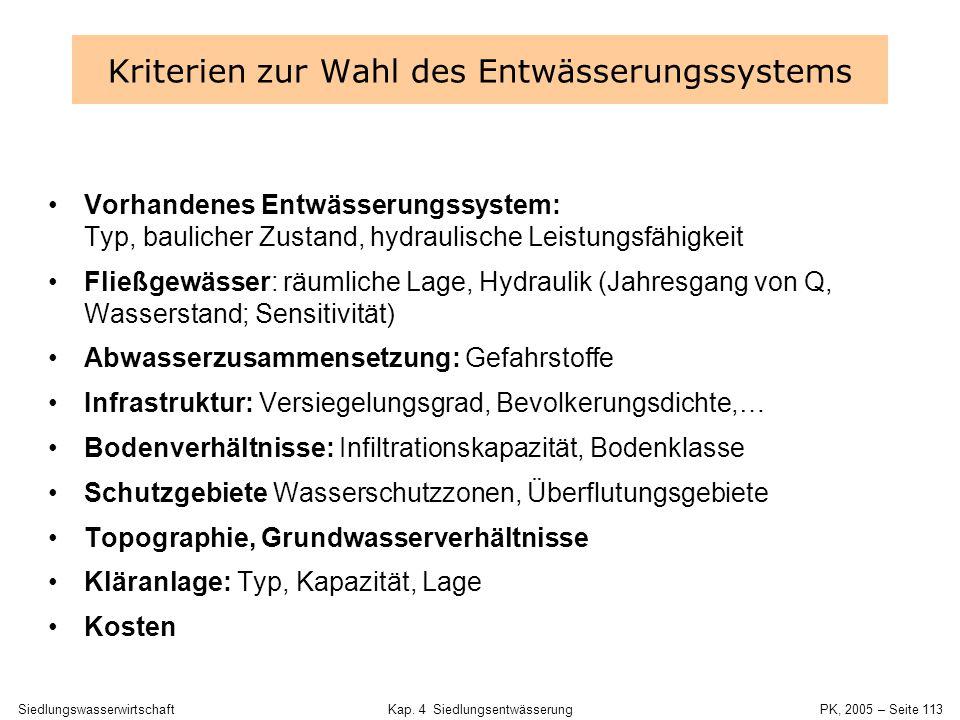 Kriterien zur Wahl des Entwässerungssystems