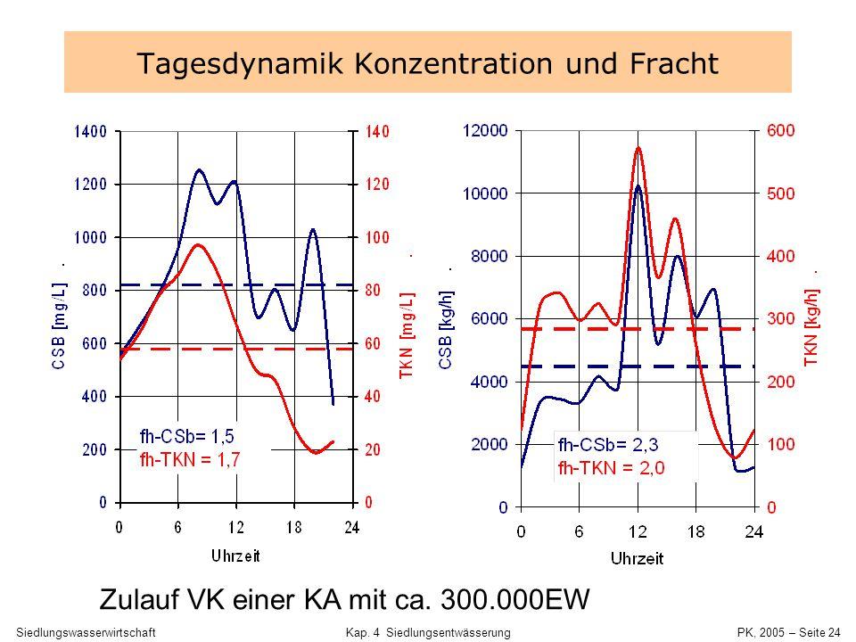 Tagesdynamik Konzentration und Fracht