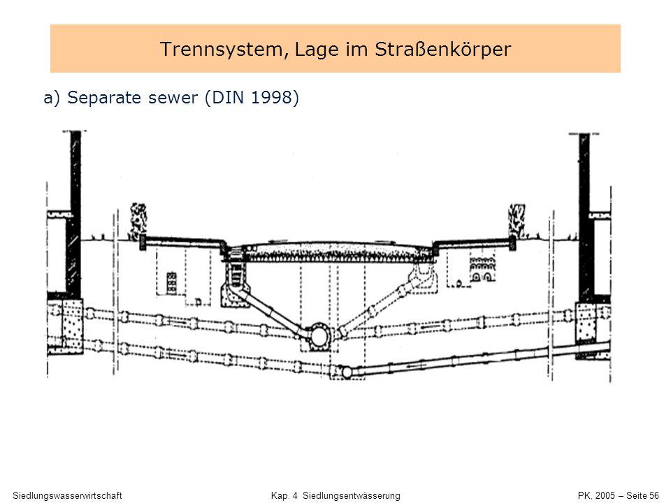 Trennsystem, Lage im Straßenkörper