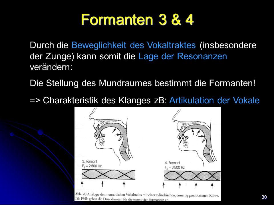 Formanten 3 & 4 Durch die Beweglichkeit des Vokaltraktes (insbesondere der Zunge) kann somit die Lage der Resonanzen verändern: