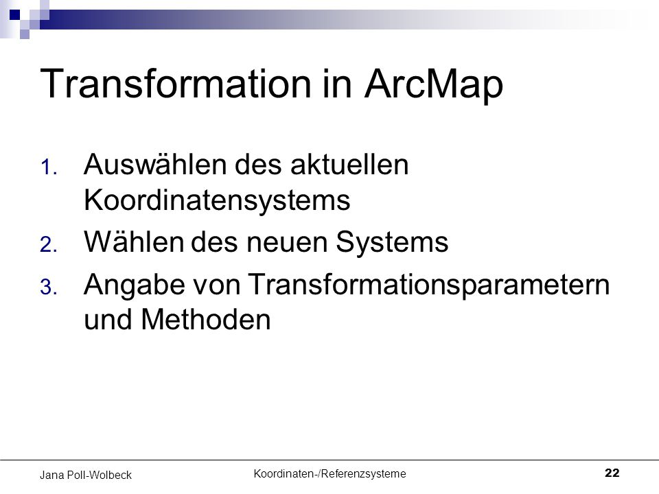Transformation in ArcMap