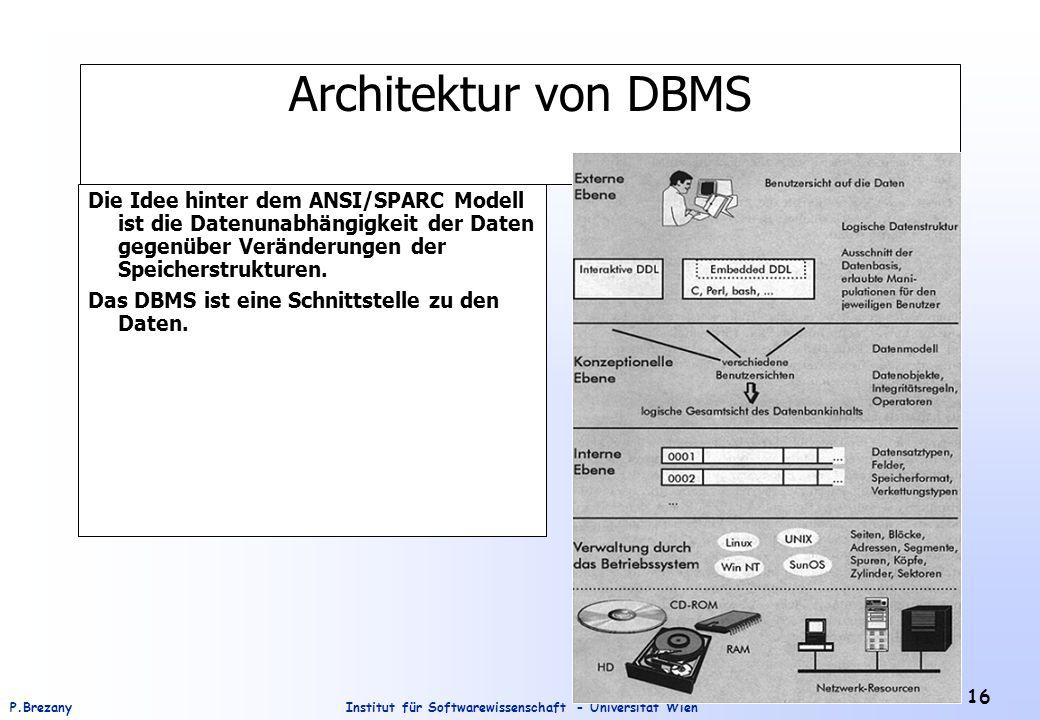 Architektur von DBMS Die Idee hinter dem ANSI/SPARC Modell ist die Datenunabhängigkeit der Daten gegenüber Veränderungen der Speicherstrukturen.