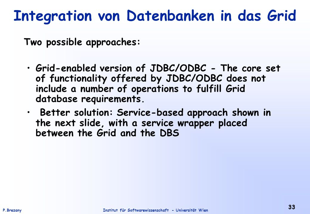 Integration von Datenbanken in das Grid