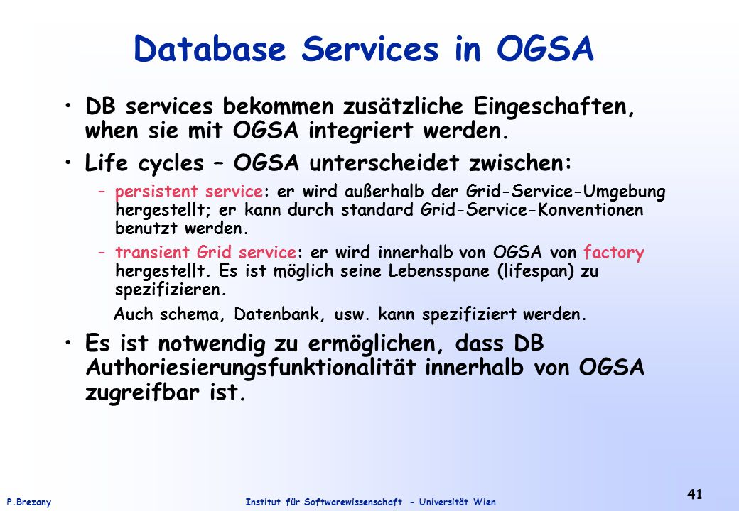 Database Services in OGSA