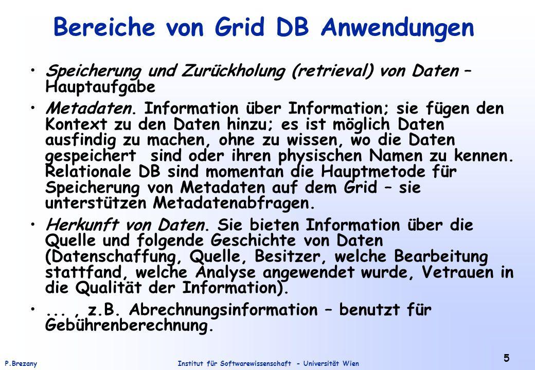 Bereiche von Grid DB Anwendungen