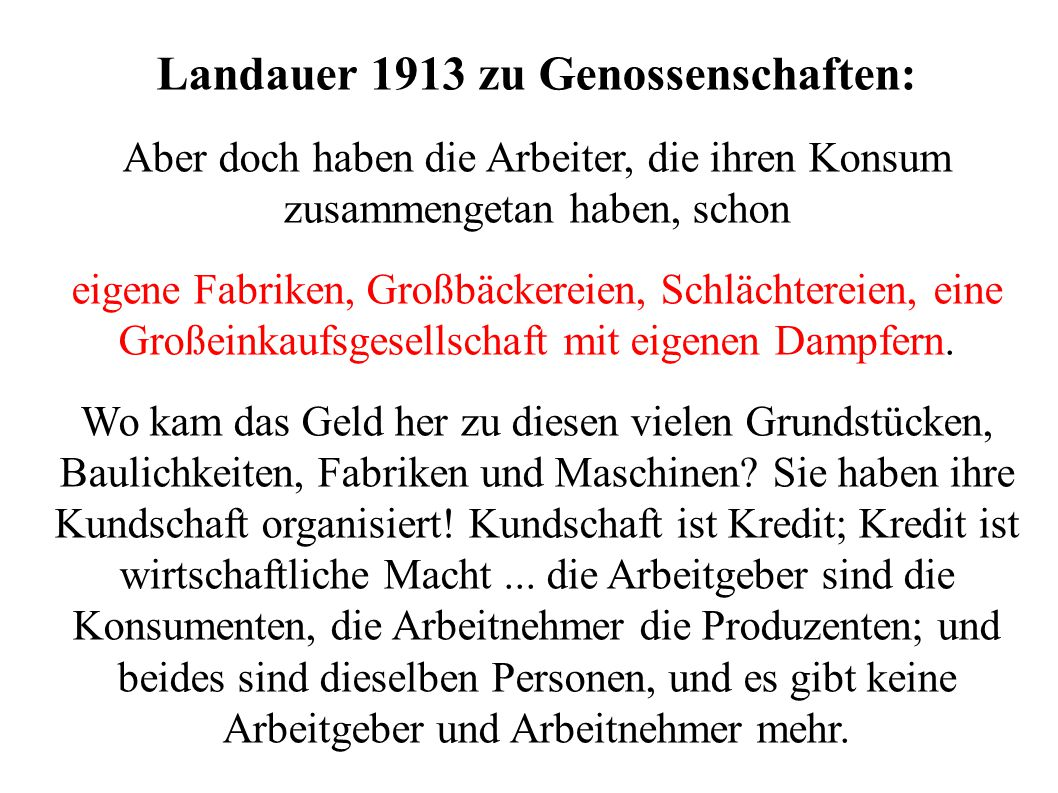 Landauer 1913 zu Genossenschaften: