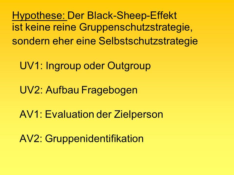 Hypothese: Der Black-Sheep-Effekt ist keine reine Gruppenschutzstrategie, sondern eher eine Selbstschutzstrategie