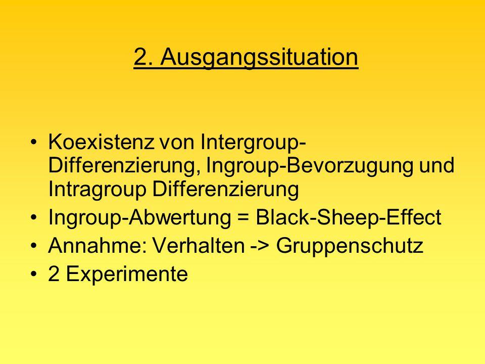 2. Ausgangssituation Koexistenz von Intergroup-Differenzierung, Ingroup-Bevorzugung und Intragroup Differenzierung.