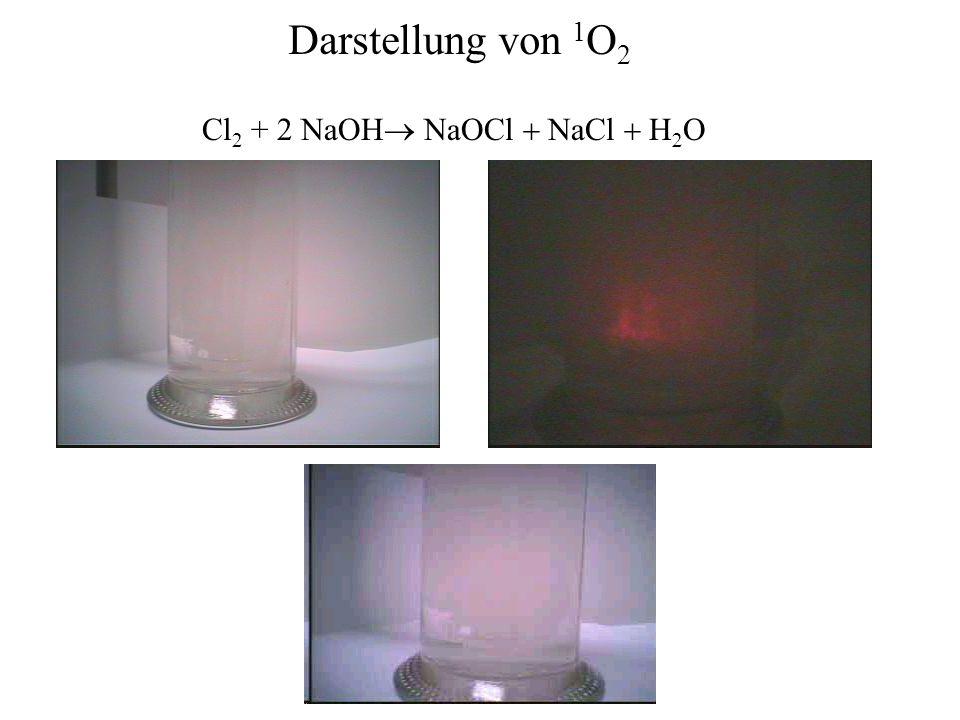 Darstellung von 1O2 Cl2 + 2 NaOH® NaOCl + NaCl + H2O