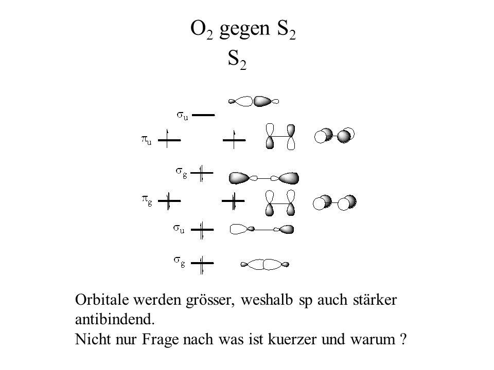 O2 gegen S2 S2 Orbitale werden grösser, weshalb sp auch stärker