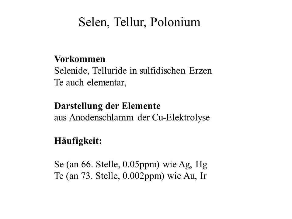 Selen, Tellur, Polonium Vorkommen
