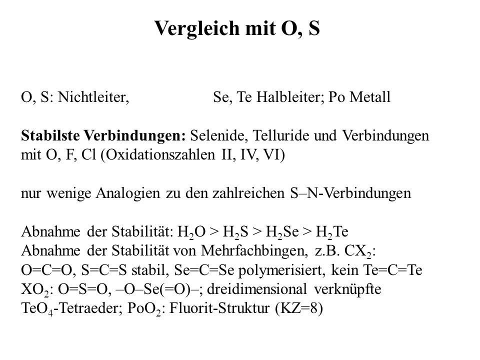 Vergleich mit O, S O, S: Nichtleiter, Se, Te Halbleiter; Po Metall