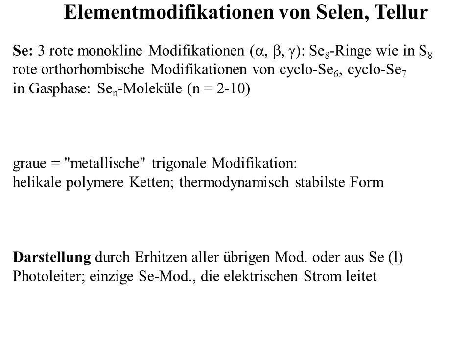 Elementmodifikationen von Selen, Tellur