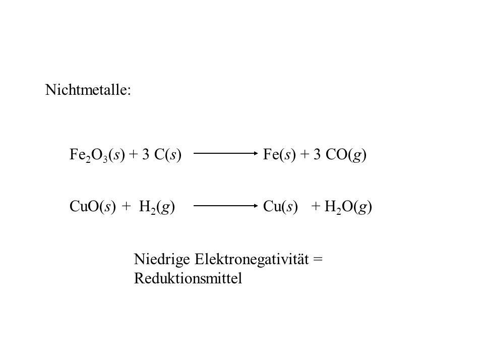 Nichtmetalle: Fe2O3(s) + 3 C(s) Fe(s) + 3 CO(g) CuO(s) + H2(g) Cu(s) + H2O(g) Niedrige Elektronegativität =