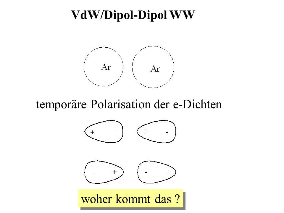 VdW/Dipol-Dipol WW temporäre Polarisation der e-Dichten woher kommt das