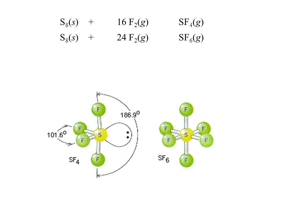 S8(s) + 16 F2(g) SF4(g) S8(s) + 24 F2(g) SF6(g)
