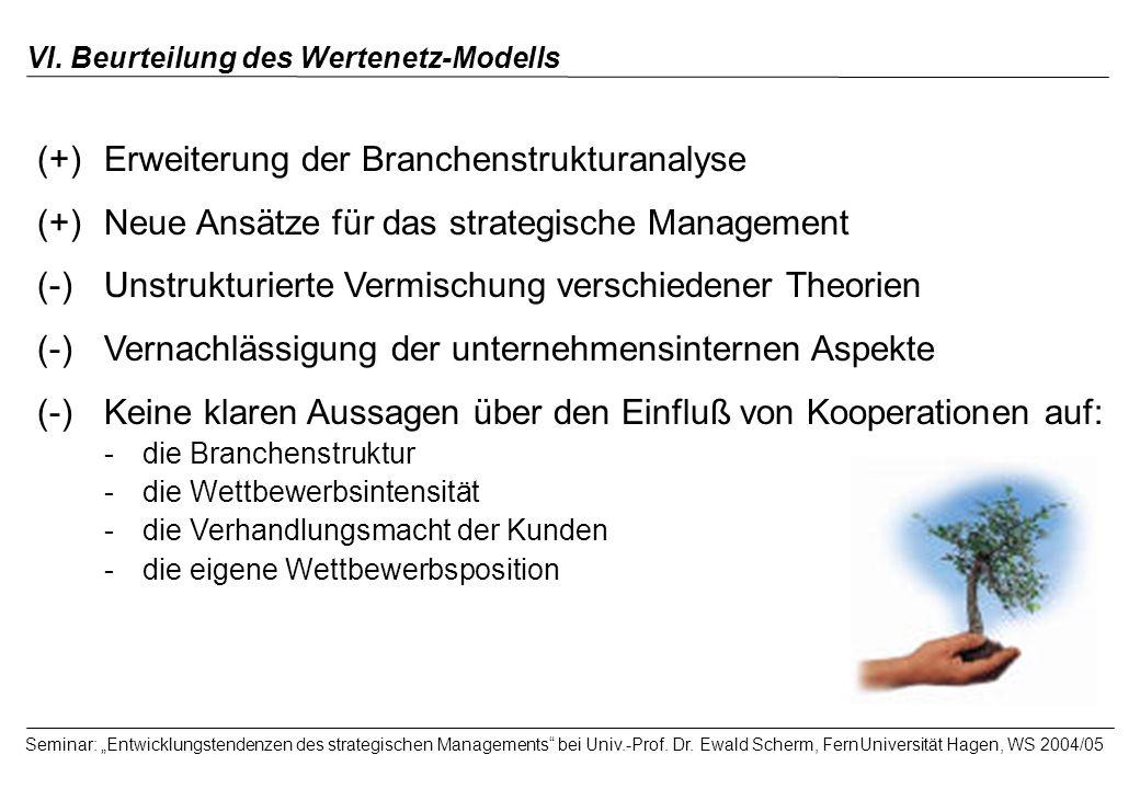 VI. Beurteilung des Wertenetz-Modells