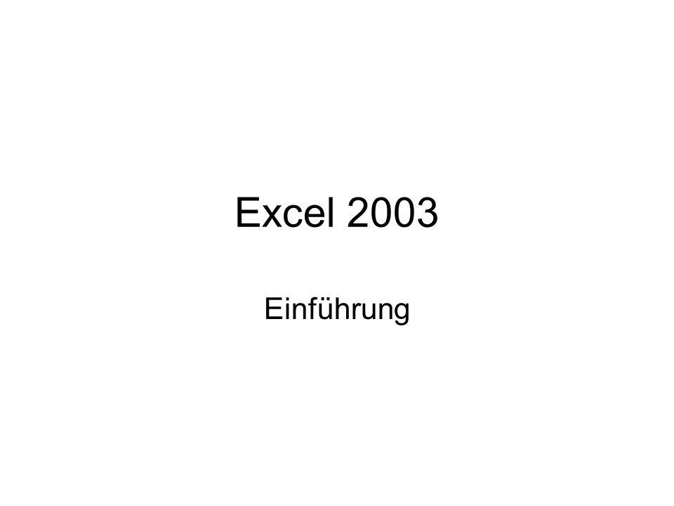 Excel 2003 Einführung Einführende Worte