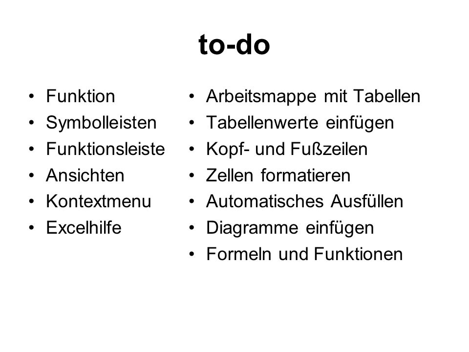 to-do Funktion Symbolleisten Funktionsleiste Ansichten Kontextmenu