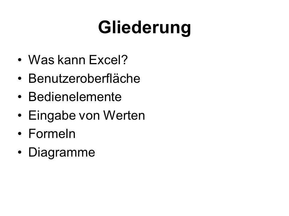 Gliederung Was kann Excel Benutzeroberfläche Bedienelemente