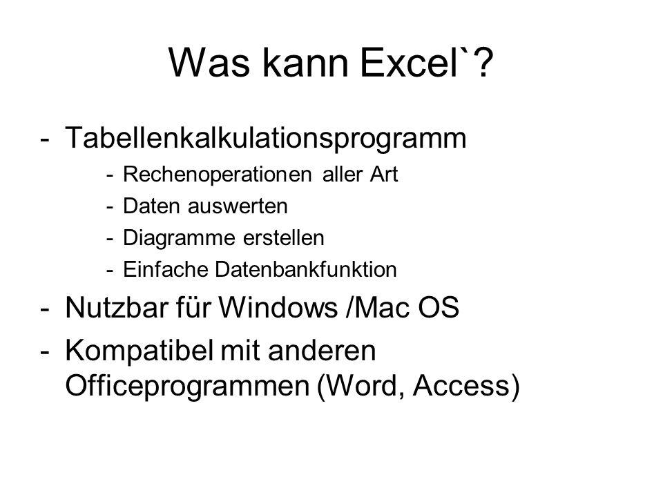 Was kann Excel` Tabellenkalkulationsprogramm