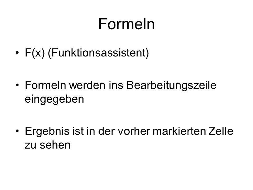 Formeln F(x) (Funktionsassistent)