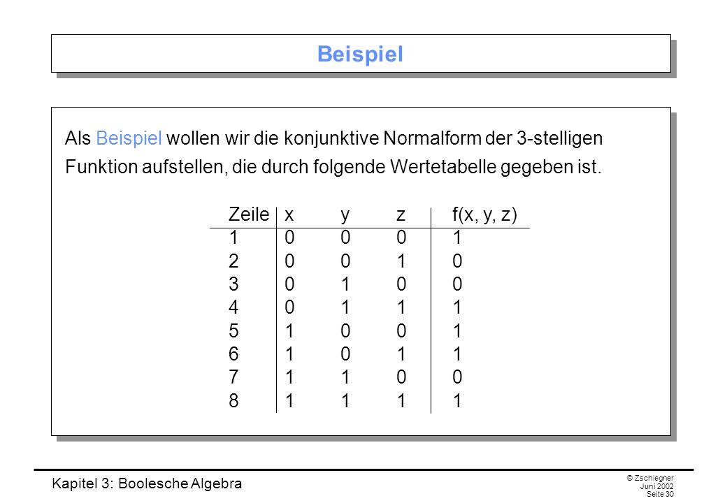 Beispiel Als Beispiel wollen wir die konjunktive Normalform der 3-stelligen Funktion aufstellen, die durch folgende Wertetabelle gegeben ist.