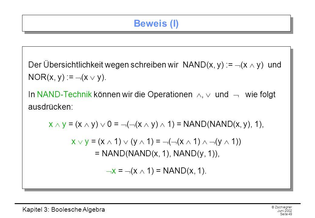 x  y = (x  y)  0 = ((x  y)  1) = NAND(NAND(x, y), 1),