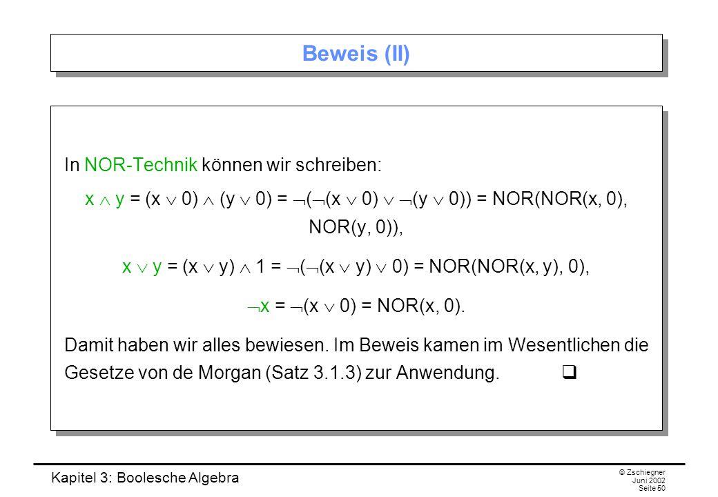 x  y = (x  y)  1 = ((x  y)  0) = NOR(NOR(x, y), 0),